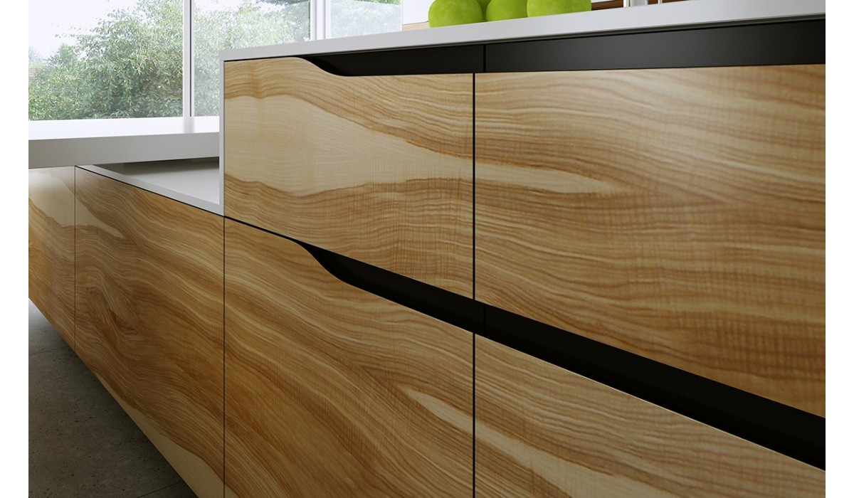 Flat Real Wood Veneer with Integrated Handle