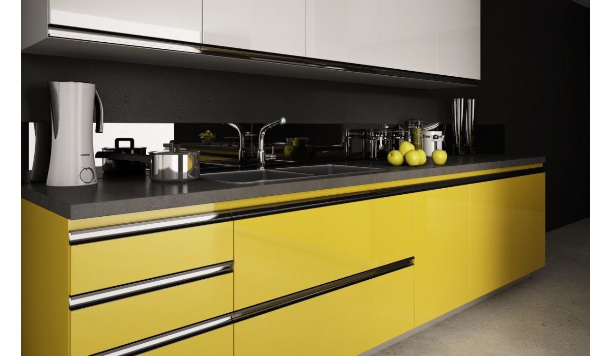 Matt or Gloss Lacquer with integrated Aluminium Handle
